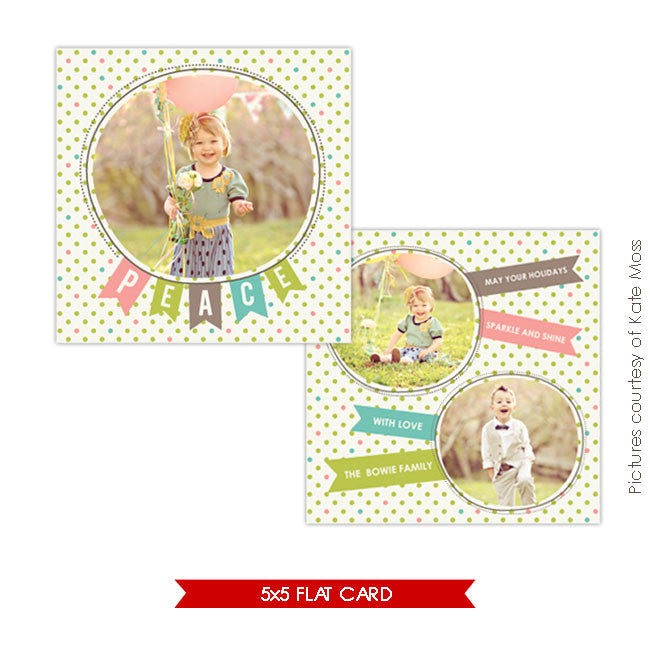 Holiday Photocard Template | Joy Ballons 5x5 e223