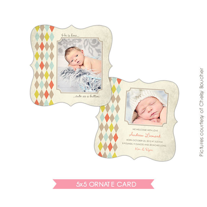 Ornate Birth Announcement | Little button e489