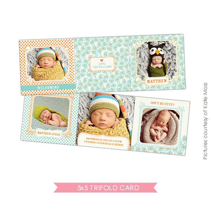 Baby accordion card 5x5 | Lovely Patterns e326