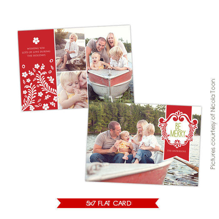 Holiday Photocard Template | Merry Family e501