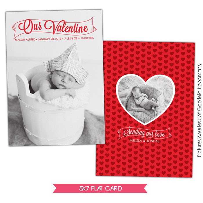 Valentine Birth Announcement template | Baby Valentine e683
