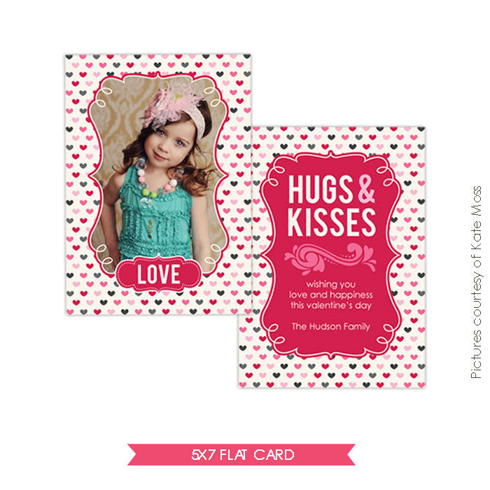 Valentine Photocard Template | Pink Hugs e264