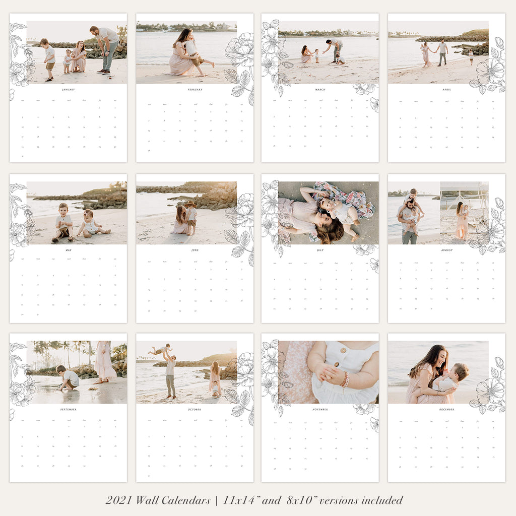 2021 Wall Photo Calendar 11x14 and 8.5x11 | Romantic - RC004