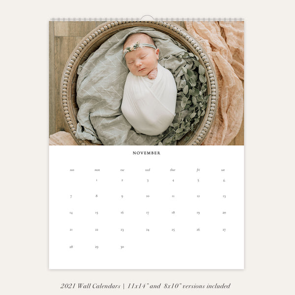 2021 Wall Photo Calendar 11x14 and 8.5x11 | Minimalistic - RC005