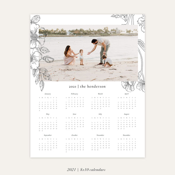 2021 Photo Calendar 8x10 | Romantic Florals - RC007