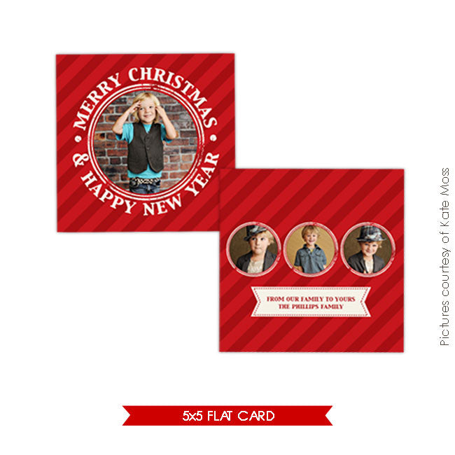 Holiday Photocard Template | Red candy e151