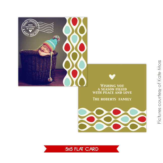 Holiday Photocard Template | Retro Christmas e135