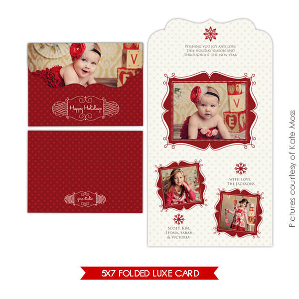 Holiday Ornate Photocard  | Romantic Christmas 5x7 e206