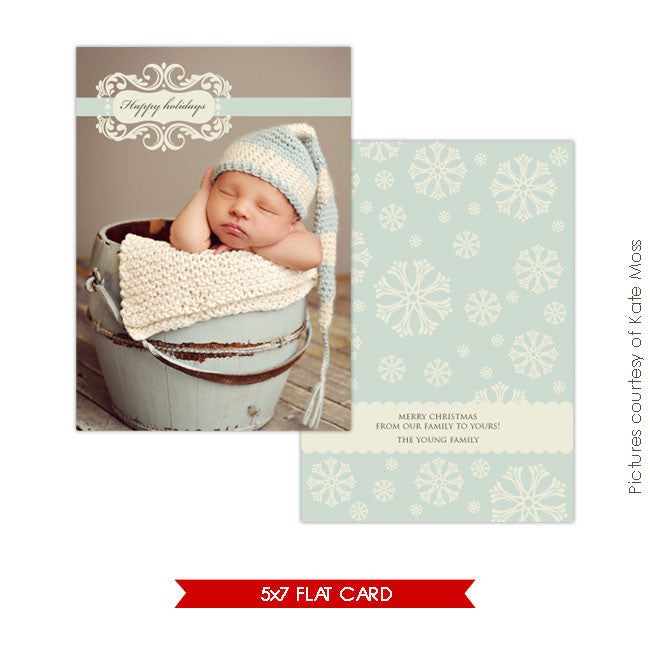 Holiday Photocard Template | Snowflakes e128