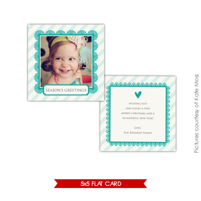 Holiday Photocard Template | Turquoise heart 5x5 e211