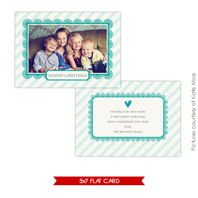 Holiday Photocard Template | Turquoise heart 5x7 e235