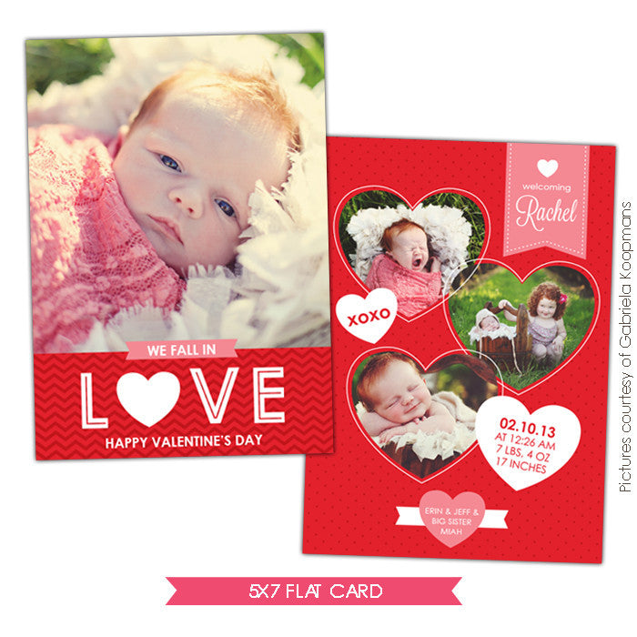 Valentine Birth Announcement template | Valentine Gift e684