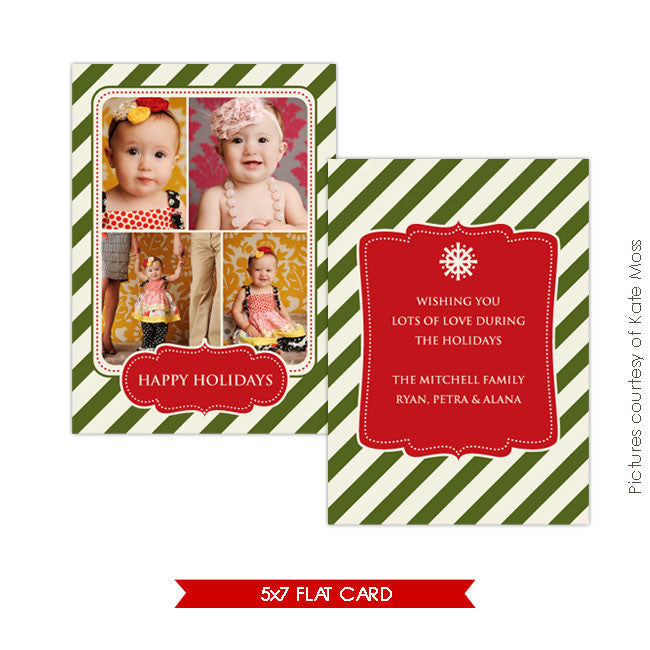 Holiday Photocard Template | Vintage happy holidays e123