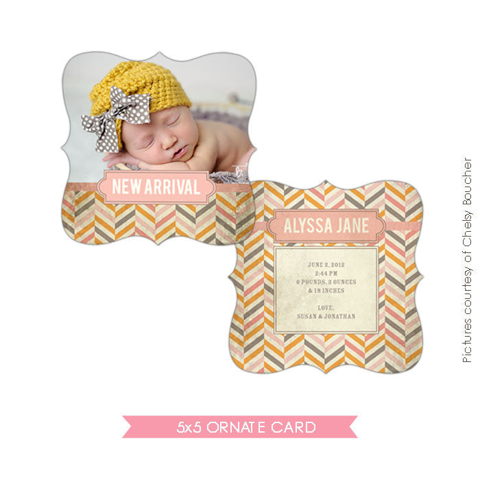 Birth Announcement | Vintage Chevron e487