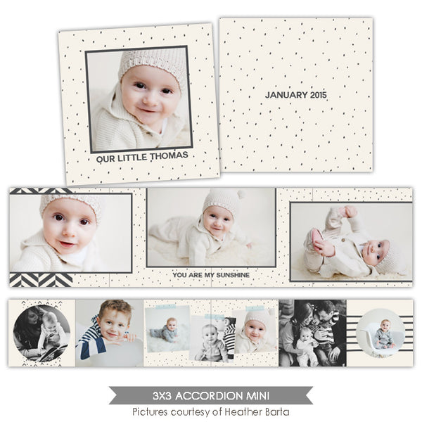 Neutral accordion mini 3x3 | Chic gray e1000