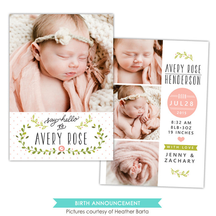Birth Announcement | Rose garden e1063