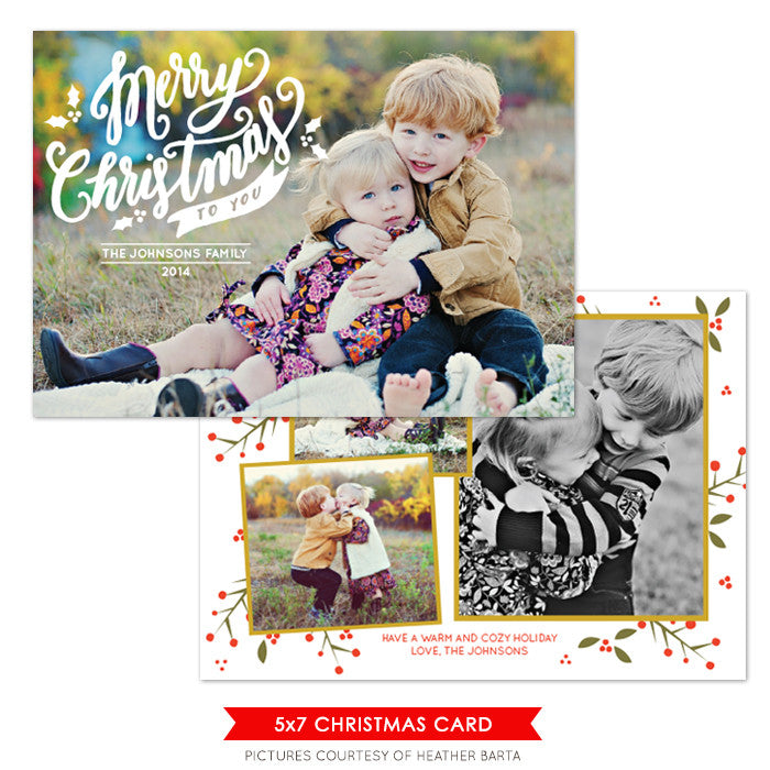 Christmas Photocard Template | Merry Christmas Lettering e1081