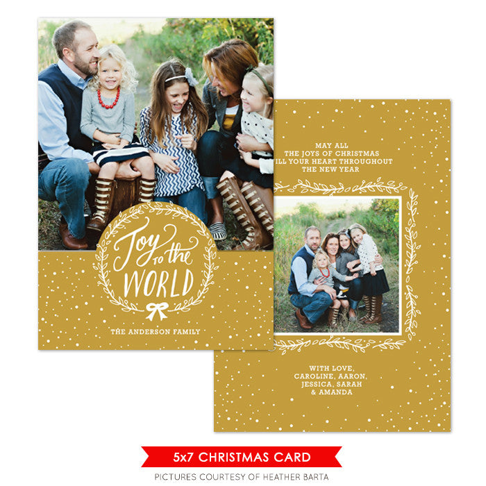 Christmas Photocard Template | Golden Joy e1084