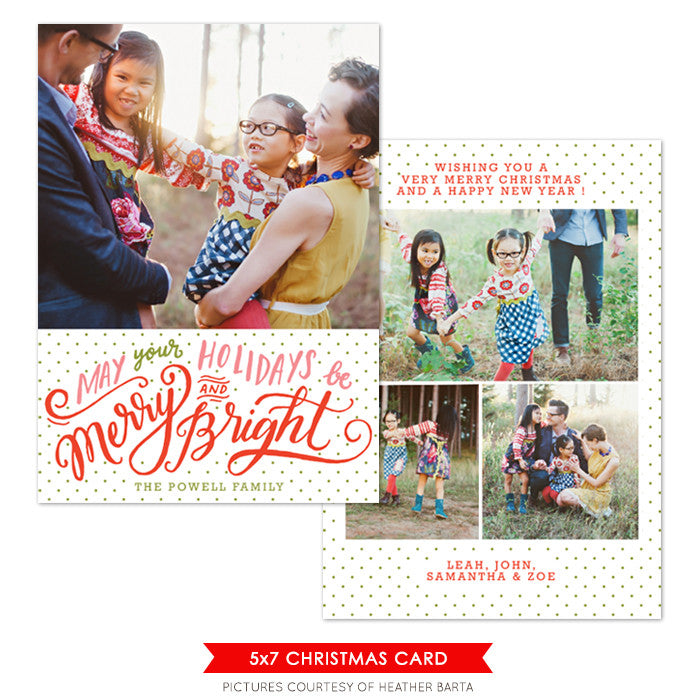 Christmas Photocard Template | Bright Holidays e1085