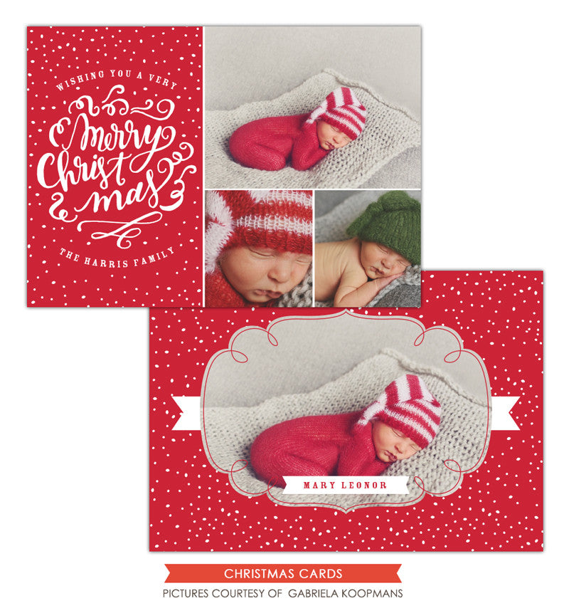 Christmas Photocard Template | Red Christmas e1129