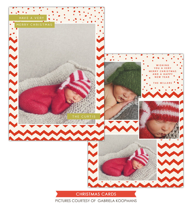 Christmas Photocard Template | Dots and chevron e1131