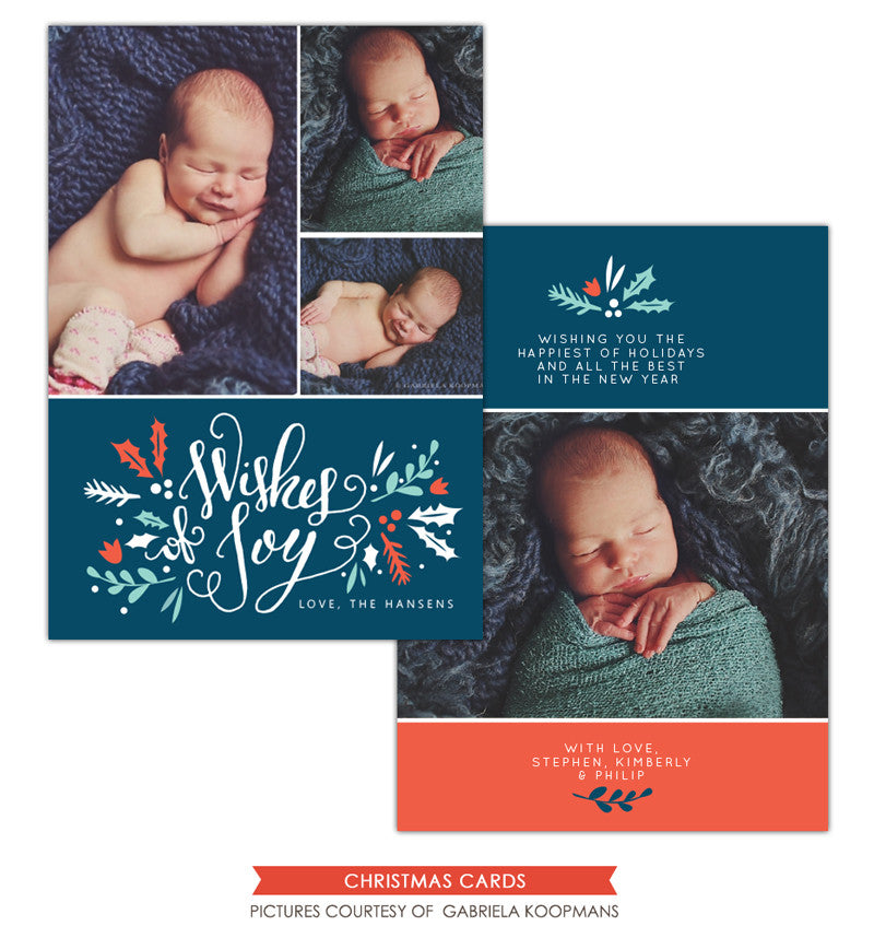Christmas Photocard Template | Wishes of Joy e1133