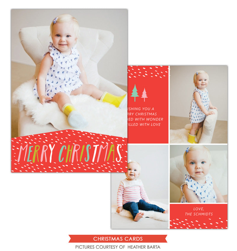 Christmas Photocard Template | Colorful snow e1138