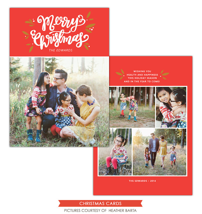Christmas Photocard Template | Merry Mistletoe e1139