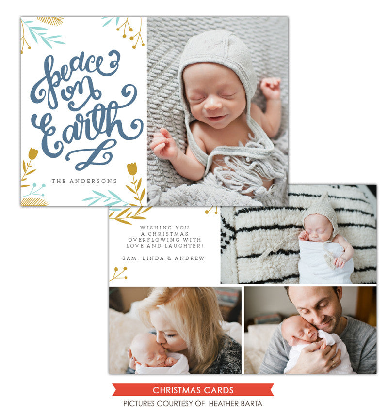 Christmas Photocard Template | Peace on Earth e1142
