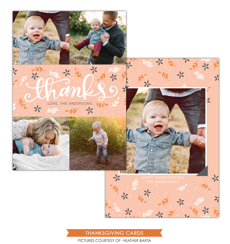 Thanksgiving Card Template | Pink thanks e1145