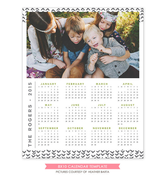 8x10 2015 calendar template | With family e1175