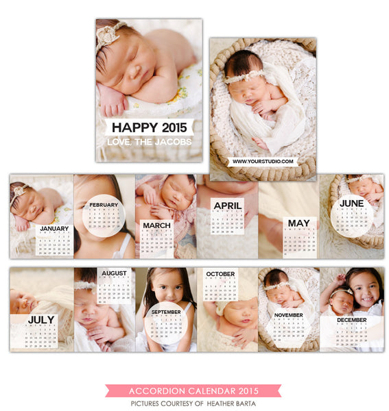 2015 accordion calendar template | Twelve pictures e1179