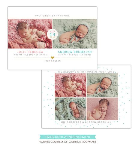 Twins Birth Announcement | Two babies e1195
