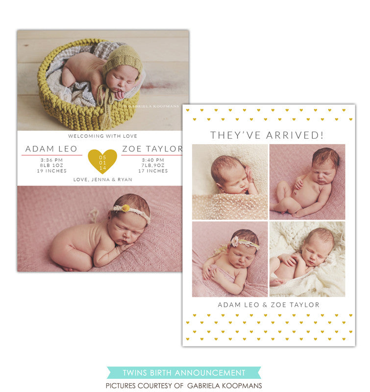 Twins Birth Announcement | Two hearts e1198