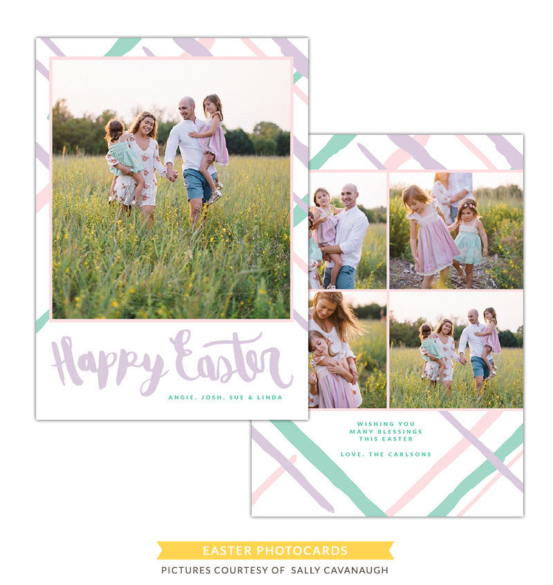 Easter Photocard Template | Pastel brushes e1267