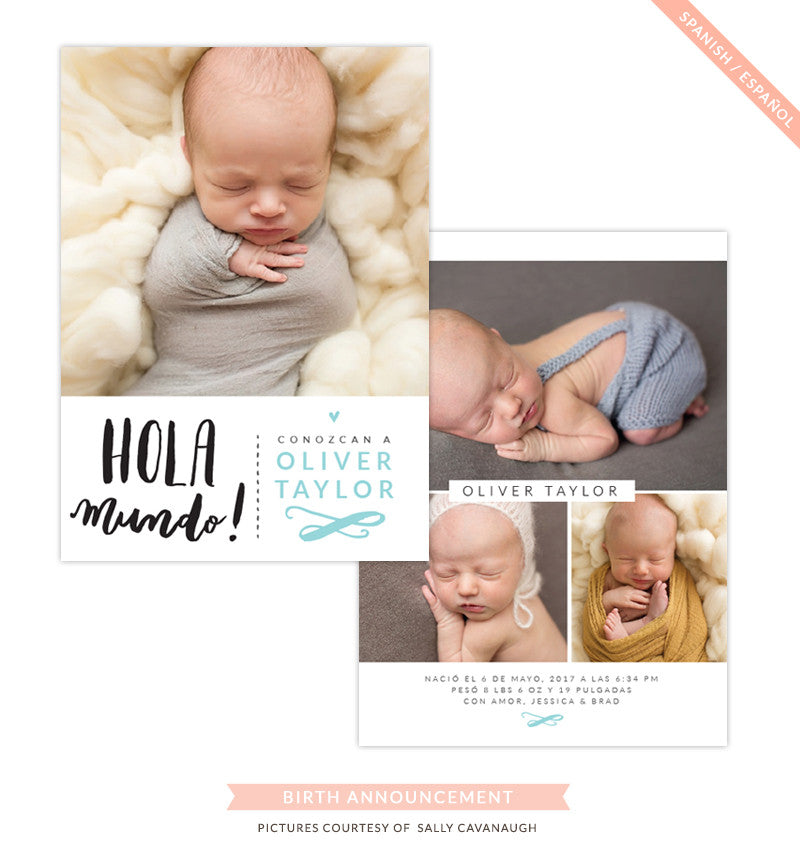 Birth Announcement - Spanish | Hola mundo e1300