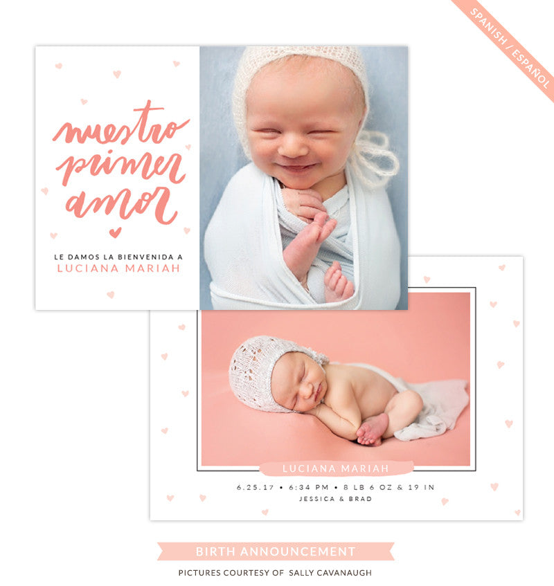 Birth Announcement - Spanish | Primer amor e1303