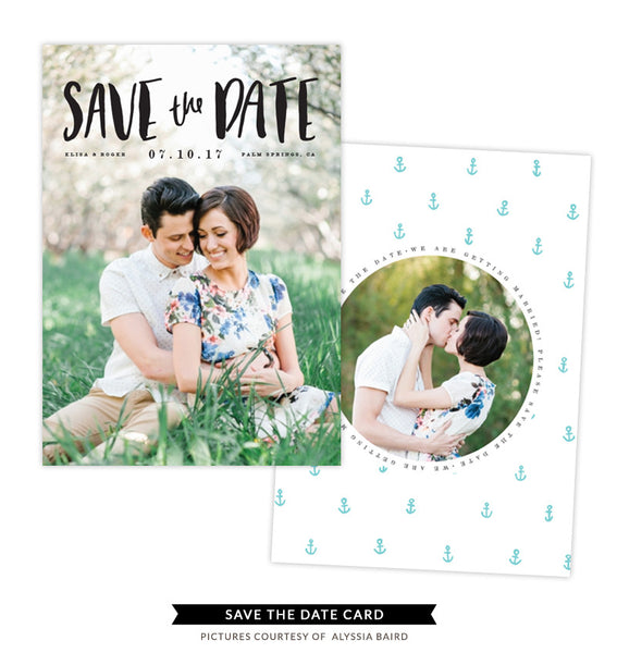 Save the Date card | Vintage Pearl e1338