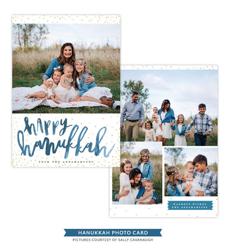 Hanukkah Photocard Template | Light of Blessing - e1410