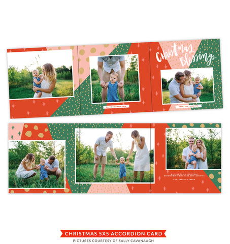 Christmas accordion card 5x5 | Mistletoe and Wine e1413