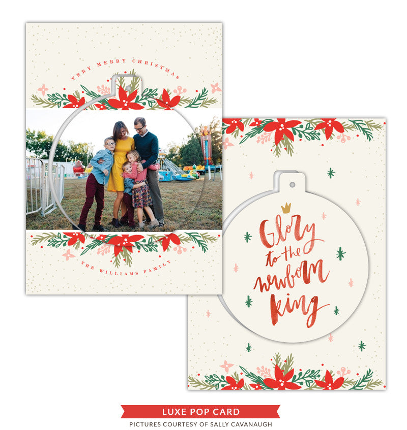 Christmas Luxe Pop Card Template | Silver Bells e1422