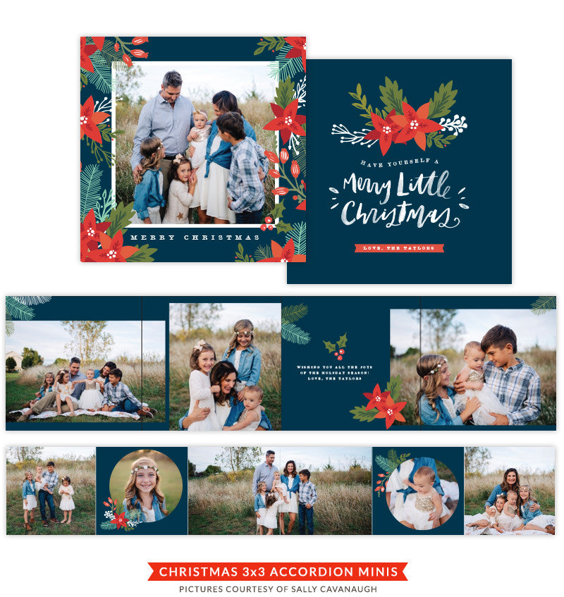 Christmas accordion mini 3x3 | Floral Christmas e1429