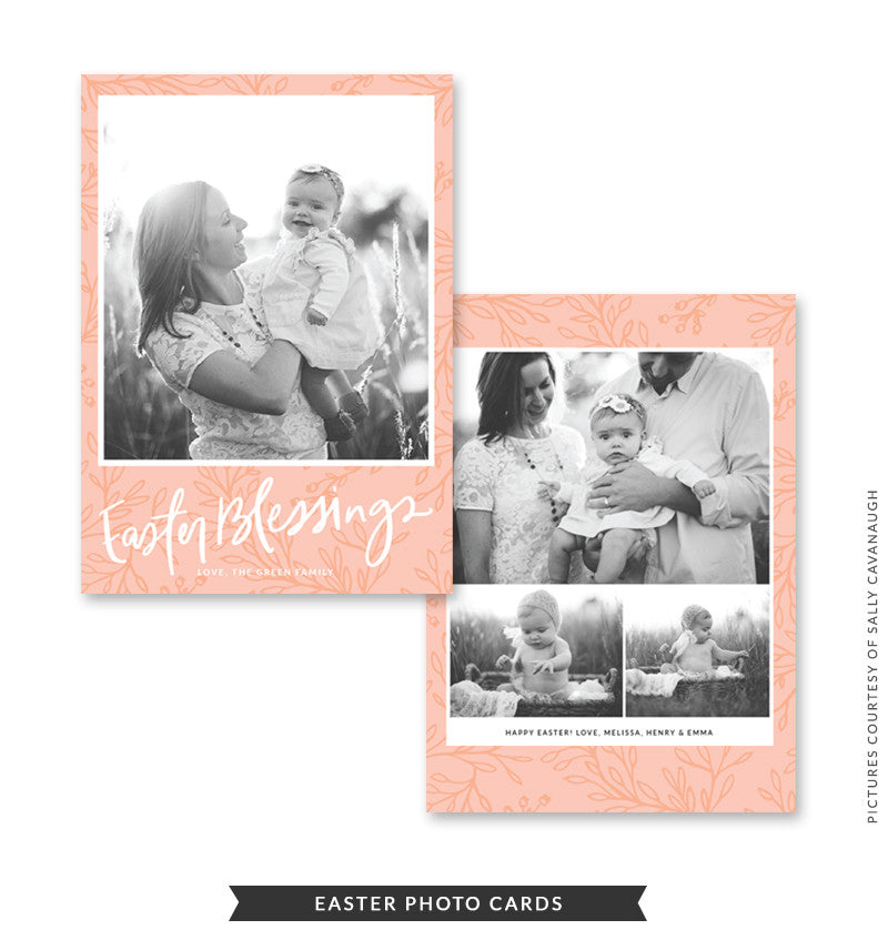5x7 Easter Photo Card | Peach Easter e1470