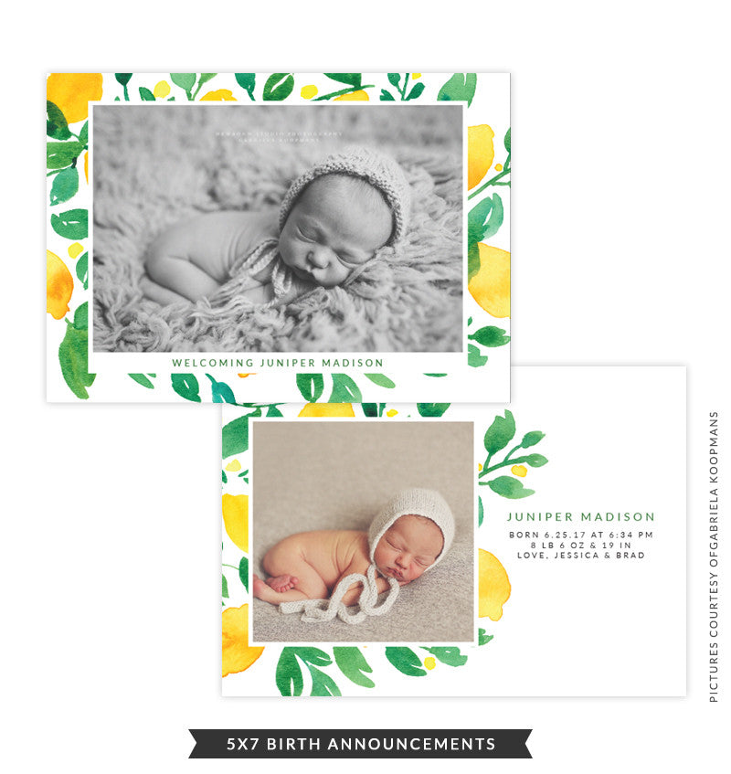 5x7 Birth Announcement | Lemon Laugh e1492