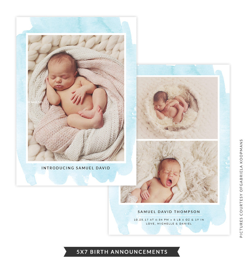 5x7 Birth Announcement | Blue Dreams e1495