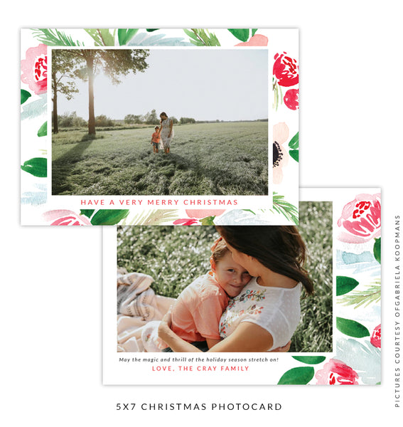 Christmas 5x7 Photo Card | Floral Happiness