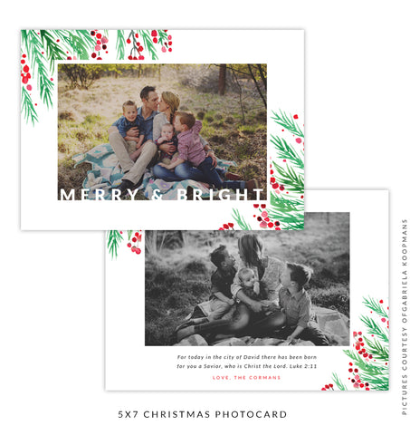 Christmas 5x7 Photo Card | Holly Berries