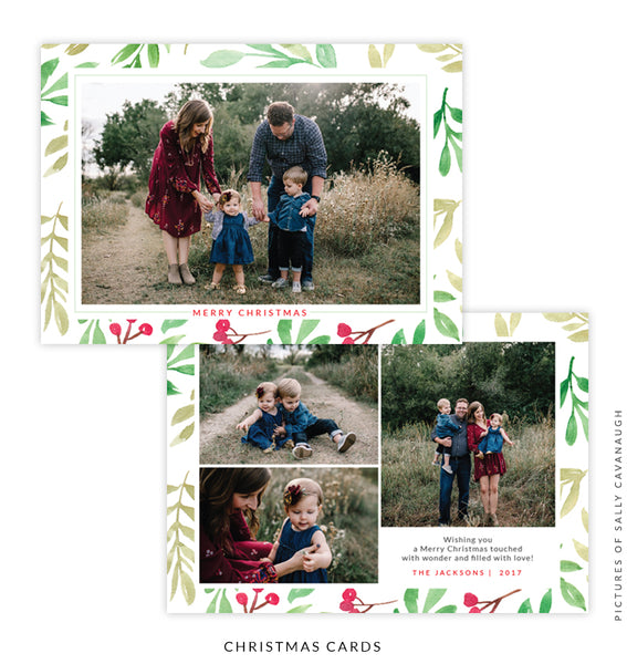 Christmas 5x7 Photo Card | Green & Red e1587