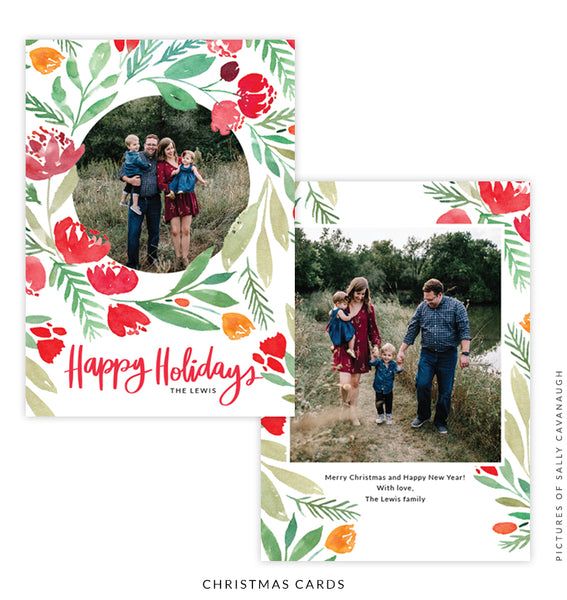 Christmas 5x7 Photo Card | Christmas Roses e1589