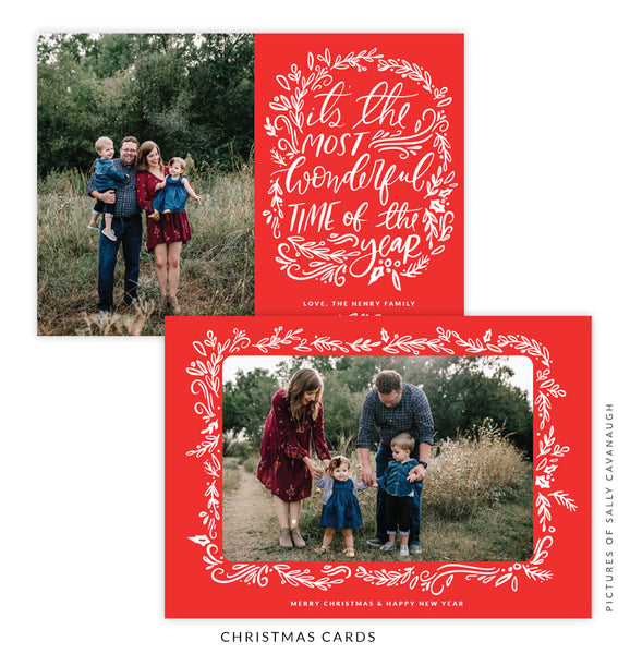 Christmas 5x7 Photo Card | Red Caroling e1593